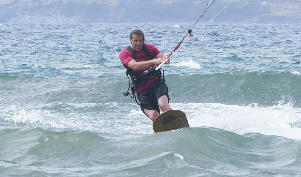 Chris Middleton riding a Kite specific Alaia in Maui on the South-Side of the Island