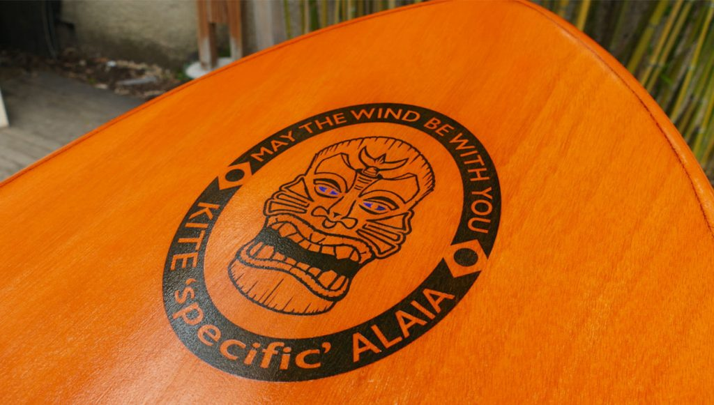 Finished Kite Alaia showing logo on the nose of the board