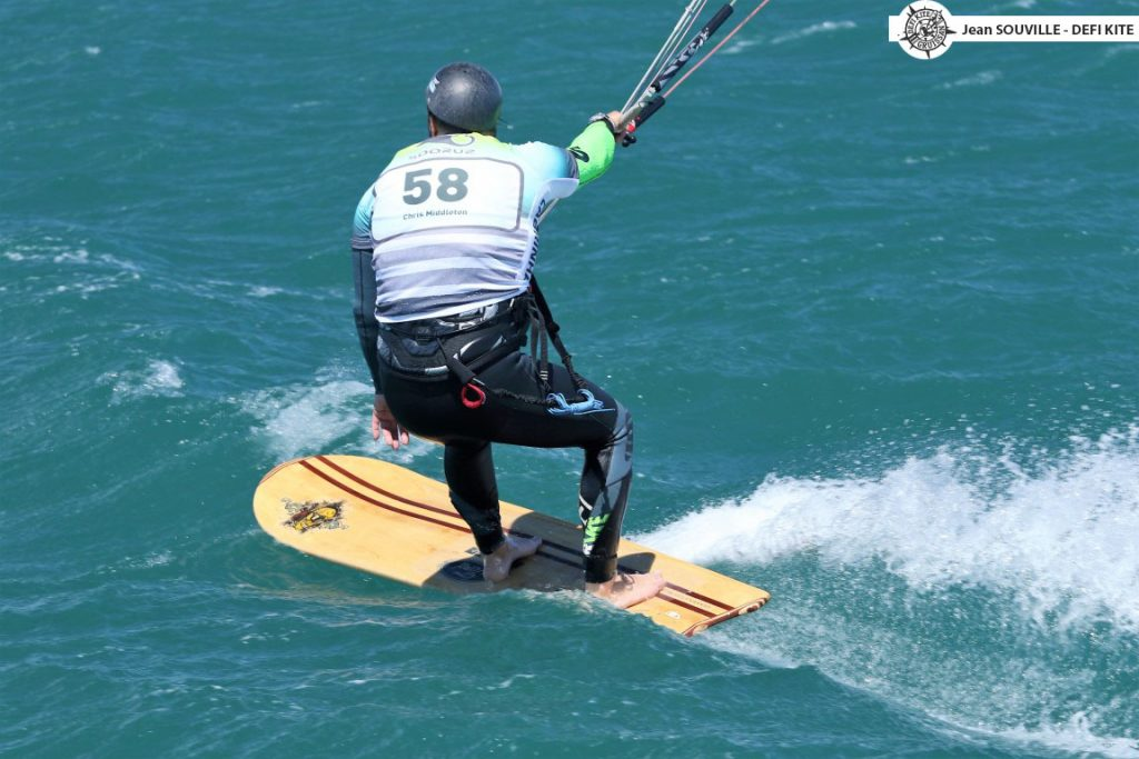 Chris Middleton riding the first 'Kite specific Alaia' to complete all legs of the Defi-Kite Competition in 2017