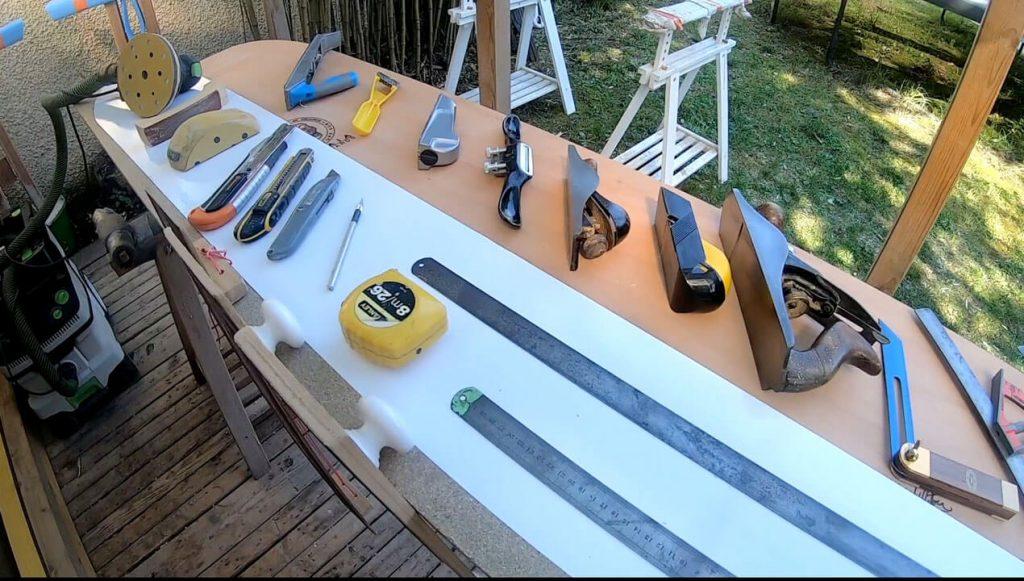 Hand tools that we use to make a Kite Alaia